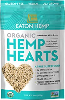 USDA Organic Eaton Hemp Hearts | Complete 10g Protein Rich Superfood Grown In The USA | Organic Snack Abundant In Omega 3 ...