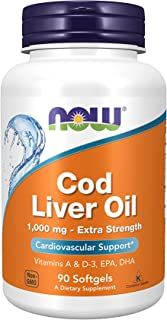 NOW Supplements, Cod Liver Oil, Extra Strength 1,000 mg with Vitamins A & D3, EPA, DHA, 90 Softgels