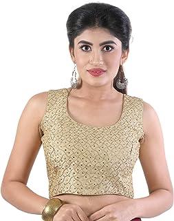a973032d151e27 Tirumala Designer with Back Bottons Princess Cut Padded Readymade Saree Sleeveless  Blouse