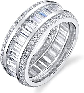 925 Sterling Silver Wide Baguette and Round Micro Pave Eternity Wedding Band