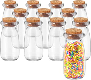 Annfly Lot de 12 bocaux en verre avec couvercles en liège - Multifonctionnels - Pour yaourt, confiture, épices, céréales e...