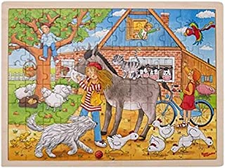 Goki- Peggy Diggledey Puzzle en Bois de 96 pièces, 57742, Multicolore