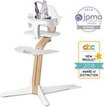 Nomi High Chair, White - White Oak Wood, Modern Scandinavian Design with a Strong Wooden Stem, Baby through Teenager and Beyond with Seamless Adjustability, Award Winning Highchair