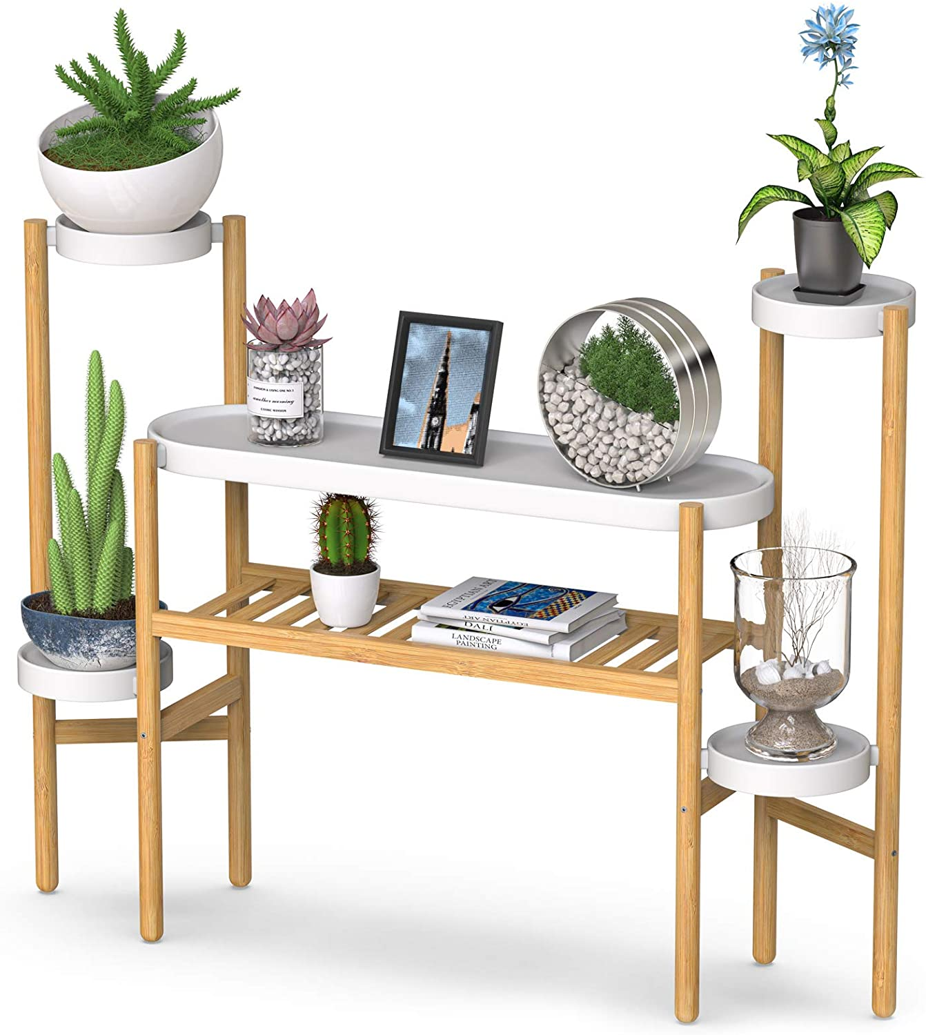 Bamboo Plant Stands Indoor, 3 Tier Tall Corner Plant Stand Holder & Plant Display Rack for Garden Outdoor (3-2 Tier)