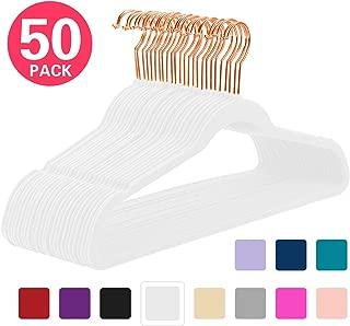 MIZGI Premium Velvet Hangers (Pack of 50) Heavyduty - Non Slip - Velvet Suit Hangers White - Copper/Rose Gold Hooks,Space Saving Clothes Hangers