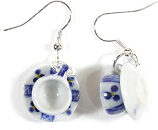 Little Oolong, Porcelain Tea Cup and Saucer Earrings, Blue and White