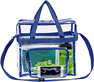 """Magicbags Clear Tote Bag Stadium Approved,Adjustable Shoulder Strap and Zippered Top,Stadium Security Travel & Gym Clear Bag, Perfect for Work, School, Sports Games and Concerts-12"""" x12"""" x6""""(Blue)"""