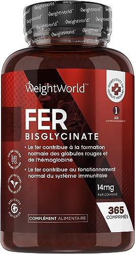 FER Bisglycinate 14 mg - 365 Comprimés - Complément Alimentaire Fer Vegan Haute Absorption - Anti Fatigue, Pour le Fo...