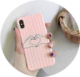 7 7 PULS 6 6S 7 8 PULS XのX XR XsmaxケースiPhone 7 PULS、AのためのソフトシリコンカバーCoqueについては、ピンクのかわいいイラストスーツケース韓国電話ケース