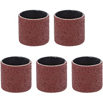 uxcell 1 inch x 1 inch Sanding Sleeves 80 Grits Sandpapers Band Drums 5 Pcs