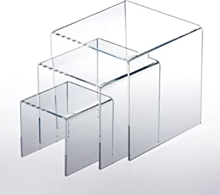 """Adorox Top Quality (1 Set of 3pcs) Clear Acrylic Display Riser (3"""", 4"""", 5"""") Jewelry Showcase Display"""