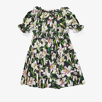 Dolce & Gabbana Kids Lily Print Poplin Dress (Little Kids) (Gigli Nero) Girl