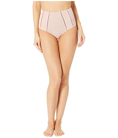 Jonathan Simkhai Lace Insert High-Waisted Bikini Bottoms (Rose) Women