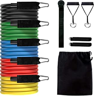 Resistance Bands Set, 11 PCS Exercises Bands, 5 Stackable Workout Bands with Handles, Door Anchor, Carry Bag, Legs Ankle S...