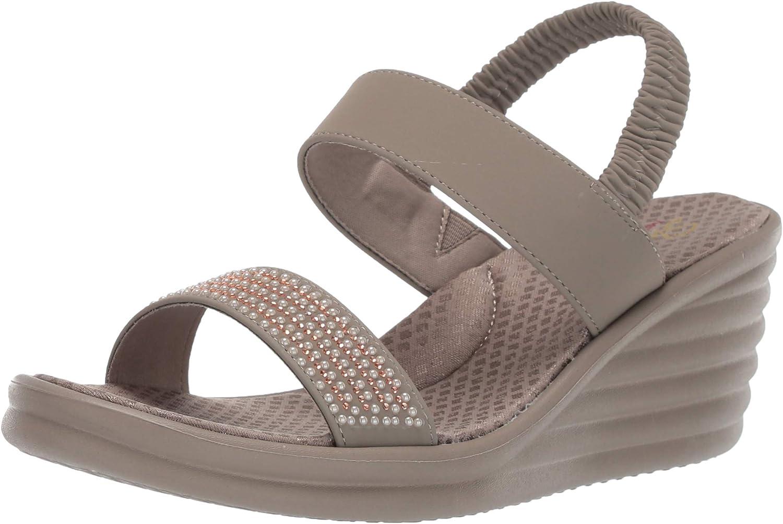 Skechers Womens Rumbler Wave - Glam Game -Rhinestone Slingback Wedge Sandal Wedge Sandal
