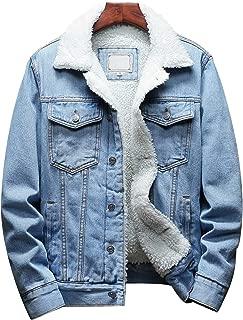 Men's Lapel Sherpa Fleece Lined Thicken Denim Jean Trucker Jacket Coats