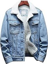 Omoone Men's Lapel Sherpa Fleece Lined Thicken Denim Jean Trucker Jacket Coats