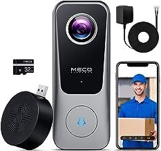 WiFi Video Doorbell Camera, MECO Doorbell Camera with Chime, 2K Ultra HD, 2-Way Audio, 32GB SD Card, Work with Alexa & Goo...