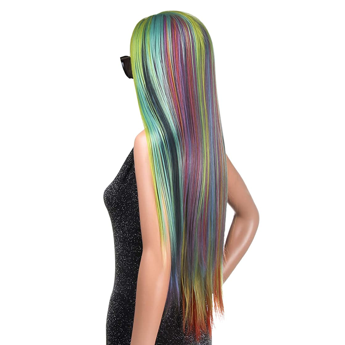WigClub Rainbow Color Lace Front Wigs Colorful Synthetic Hair Long Straight Heat Resistant Costume Party Women Wig (28