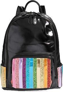 Bari Lynn Rainbow Glitter Stripe Metallic Black Backpack