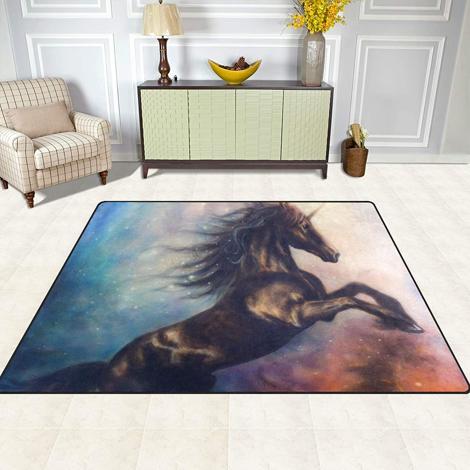 FAJRO Black Unicorn in Space Rugs for entryway Doormat Area Rug Multipattern Door Mat shoes Scraper Home Dec Anti-Slip Indoor Outdoor