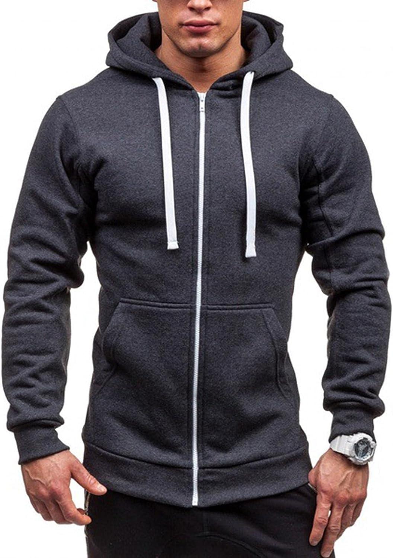 Qsctys Men's Full Zip Fashion Hoodies Long Sleeve Hooded Sweatshirts Fleece Cotton Sweater Casual Loose Outdoor Sports Shirts