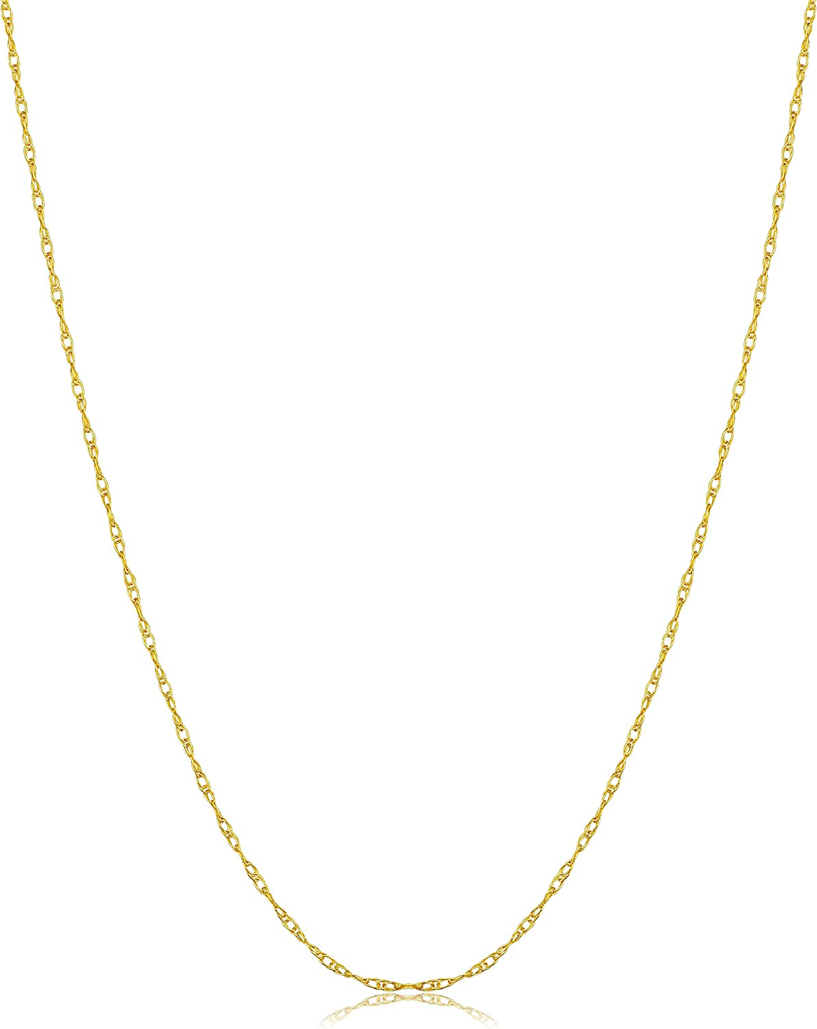 14k Yellow, White or Rose Gold 0.8 mm Rope Chain Necklace (14, 16, 18, 20, 24 or 30 inch) - Very Thin And Lightweight