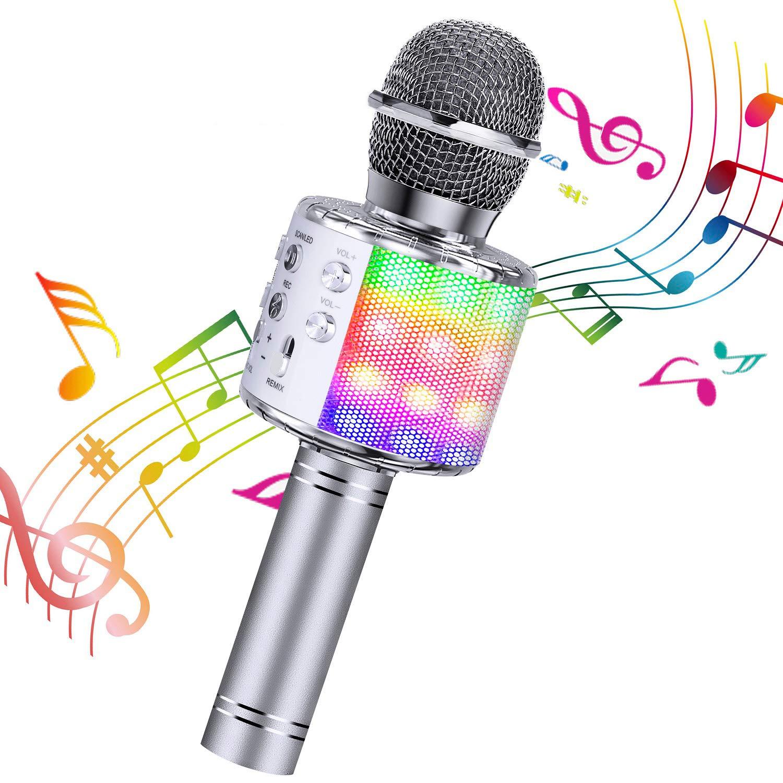 ShinePick Micrófono Karaoke Bluetooth, Microfono Inalámbrico Karaoke Portátil con Altavoz para Niños Canta Partido Musica, Compatible con Android/iOS PC, AUX o Teléfono Inteligente (Plata): Amazon.es: Instrumentos musicales