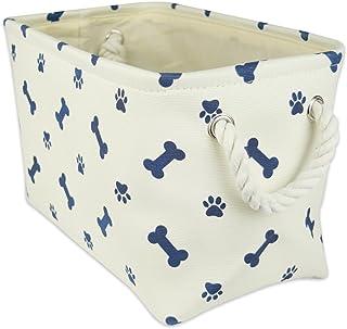 "Bone Dry Paw Print Collapsible Polyester Pet Storage Bin, Rectangle Small - 14 x 8 x 9"", Paws & Bones Blue"