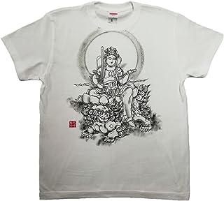 文殊菩薩 Tシャツ 白黒 半袖 和柄 仏画 日本画 手描き 墨絵 伯舟庵