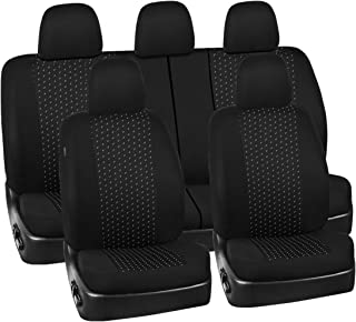 NEW ARRIVAL- CAR PASS 11PCS Supreme Universal Jacquard Car Seat Covers Set -Universal fit for Vehicles,Cars,SUV,Airbag Compatible(Black and Gray)