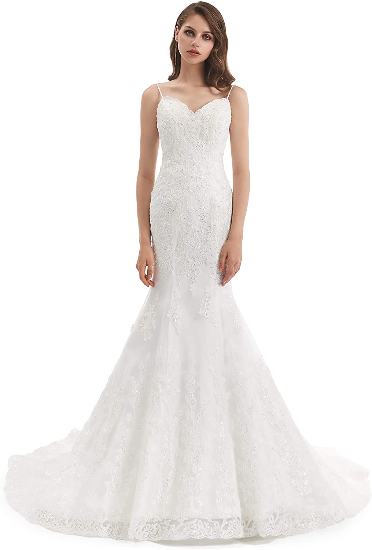Datangep Open Back Mermaid Wedding Dresses 2020 Sexy Spaghetti Lace Vintage Bridal Wedding Gowns
