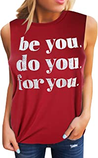 Womens Tank Tops Graphic Tees Funny Crew Neck Sleeveless Workout T Shirts with Sayings