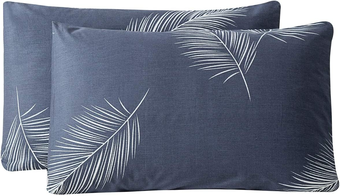 Large-scale sale SUSYBAO 100% Cotton Pillowcases King Size Blue 2 shipfree of Tropical Set