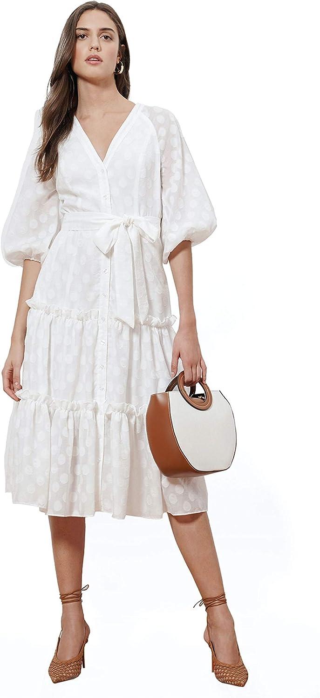 Donna Morgan Women's Textured Clip Dot Dress