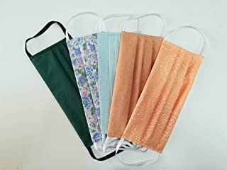 Set 5 copri bocca e naso in cotone doppio strato multiuso, fantasie assortite con tasca per filtro arancio-verdone