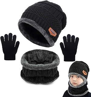 Yutdeng Beanie Sciarpa e Guanti Bambino Cappello Sciarpa Inverno Cappelli Invernali Bambino Natale Regalo per Bambini 3-10...
