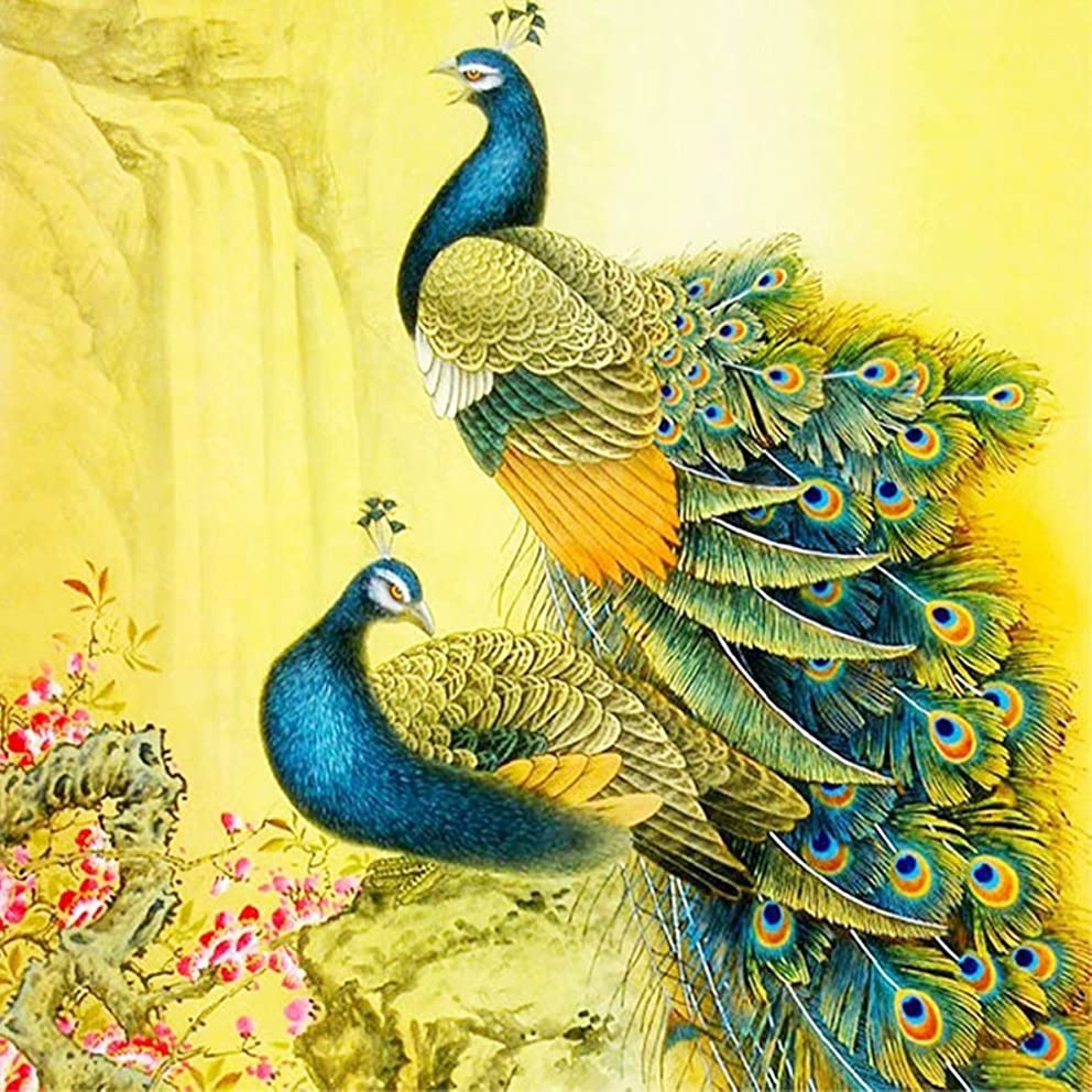 Diamond Painting by Number Kit, LPRTALK 5D DIY Diamond Painting Animal Full Round Drill Beautiful Peacocks Embroidery for Wall Decoration 12X12 inches (Full Drill)