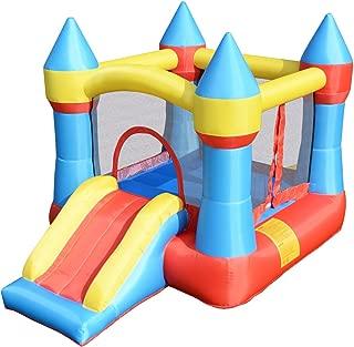 Costzon Inflatable Bounce House, Castle Jumper Slide Mesh Walls, Kids Party Jump Bouncer House w/Net, Carry Bag Without Blower (Blue Castle)