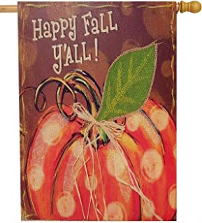 Dyrenson Happy Fall Yall 28 x 40 House Flag Welcome Double Sided, Rustic Autumn Harvest Pumpkin Primitive Burlap Garden Yard Decoration, Home Seasonal Outdoor Décor Large Decorative Vintage Flag