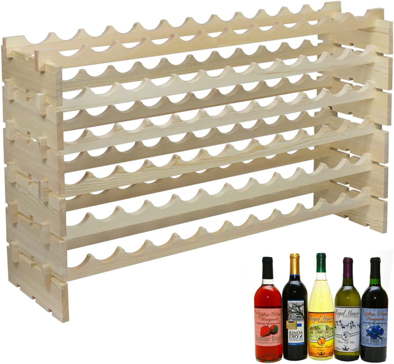 F2C Wood 72-Bottle 6-Row Stackable Wine Rack Mail order cheap Modular Gorgeous C