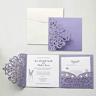 Picky Bride Purple Wedding Invitation with RSVP and Envelopes Elegant Wedding Invite - Set of 50pcs