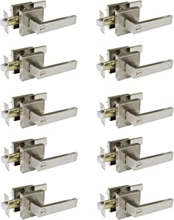 10 Pack Probrico Square Door Lever Privacy Door Lock Handleset Keyless Lockset Door Knobs Storage Room Bathroom Set No Key in Satin Nickel