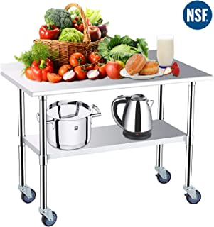 Stainless Steel Prep Table - 48x24 Inches NSF Commercial Work Table Food Metal Table Heavy Duty Kitchen Garage Worktables and Workstations Sandwich Top with 4 Caster Wheels