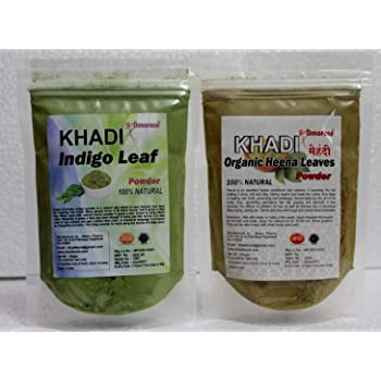 Khadi Omorose Indigo powder & Heena powder (100 grams each) pure & natural