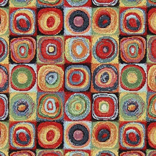 Jacquard Gobelin Kandinsky Kreise 2 — Meterware ab 0,5m — zum Nähen von Outdoor Deko, Kissen/Tagesdecken und Tischdekoration