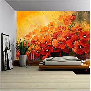 wall26 - Oil Painting - Abstract Illustration of Poppies on a red-Yellow Background, Wallpaper - Removable Wall Mural   Self-Adhesive Large Wallpaper - 66x96 inches