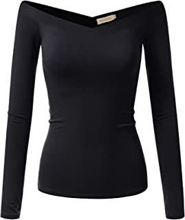Kate Kasin Women's Long Sleeve Off Shoulder Tops Stretch Fitted T-Shirt