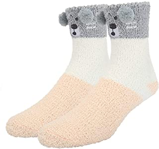 Mens Fun Cute 3D Cartoon Animal Soft Warm Cozy Floor Fluffy Slipper Fuzzy Socks