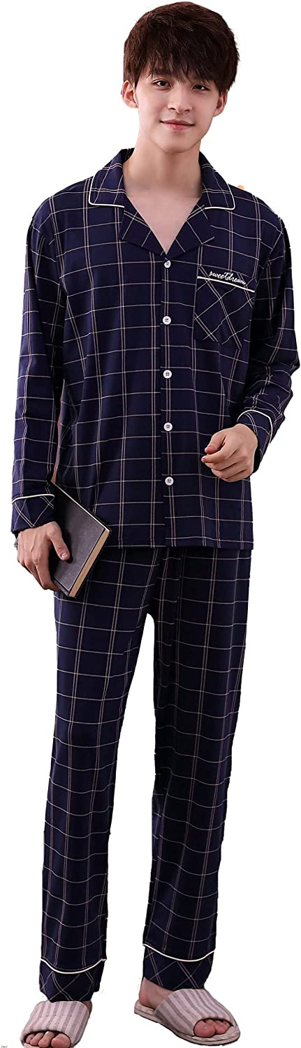Men's Cotton Long Sleeve Button-Dawn Sleepwear Pajama Set with Tops and Pants